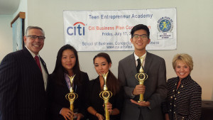 2015 First Place High School Team, Citi Business Plan Competition Stephen Christensen, AEA Founder, Katherine Wong, Tony Hsu, Natasha Takahashi and  Lisa Deloney, President, Citi Bank, Southern California Division.