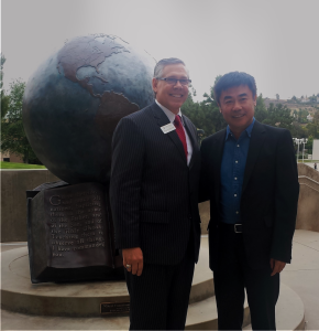 AEA Founder Stephen Christensen hosts tour and visit at Concordia University in Irvine, California USA for BOSSA Distinguished President Mr. Sang Peng