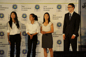 2014 First Place High School Team, Business Plan Competition, Caroline Chen (Fremont, CA), Jewel Chu (Taiwan), Nadia Susanto (Irvine, CA), Bailey Paxton